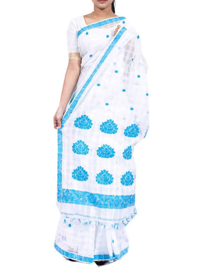 White Gari Diya Assam Saree With Turquoise Motifs