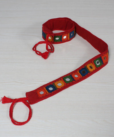 Red Lambani Mirror Work Embroidery Belt