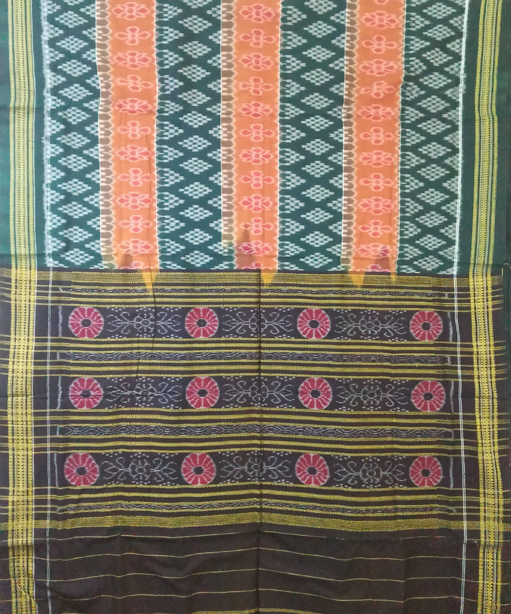 Orange Green Sambalpuri Cotton Ikat Saree