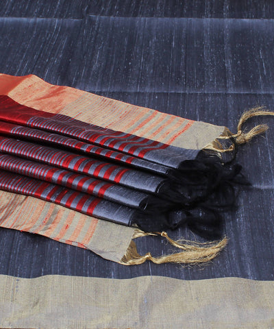 Grey Red Khadi Handloom Silk Saree