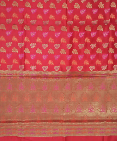 Red golden handloom katan silk banarasi saree