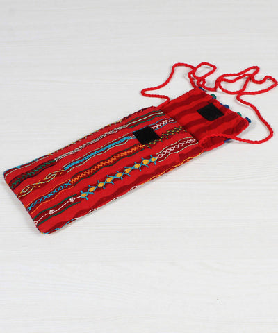 Lambani Embroidery Orange Red Mobile Pouch