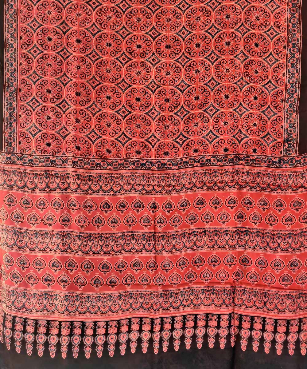 Red ajrakh handblock printed silk saree