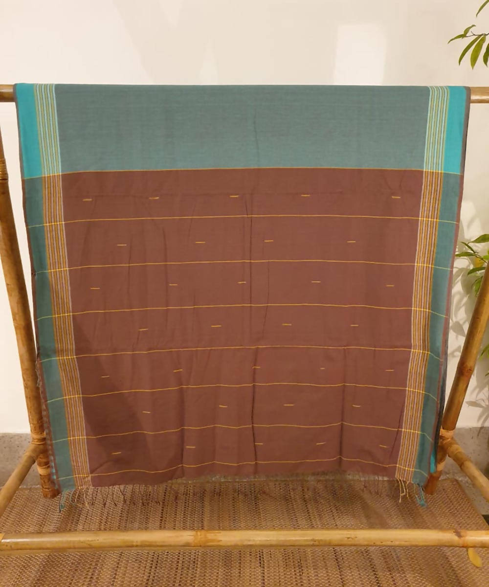 Turquoise and brown assam handloom cotton saree