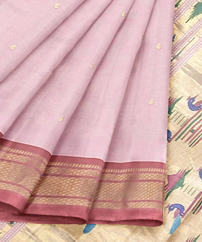 Handloom Baby Pink Paithani Cotton Saree