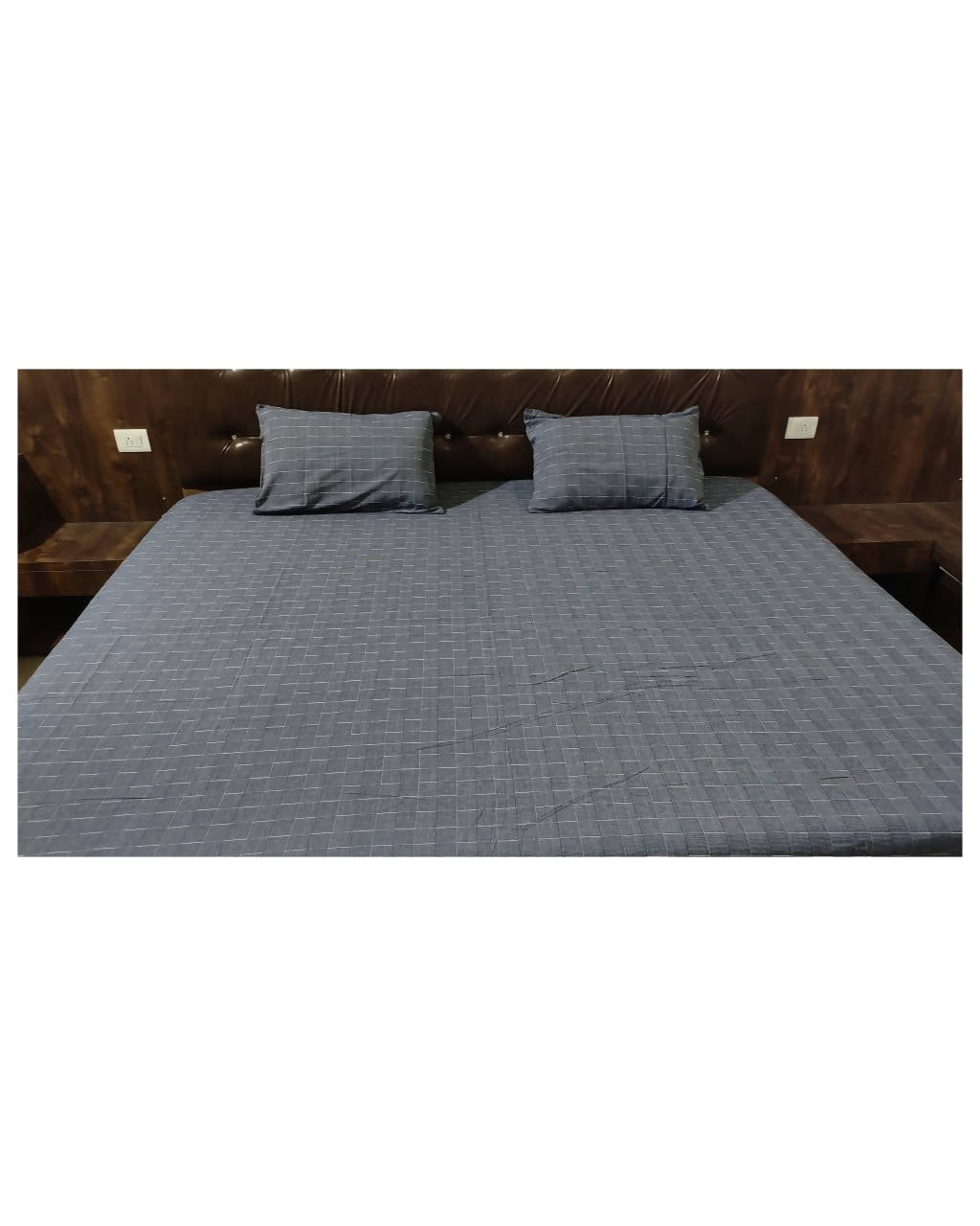 Blue texture handloom king size double bedsheet