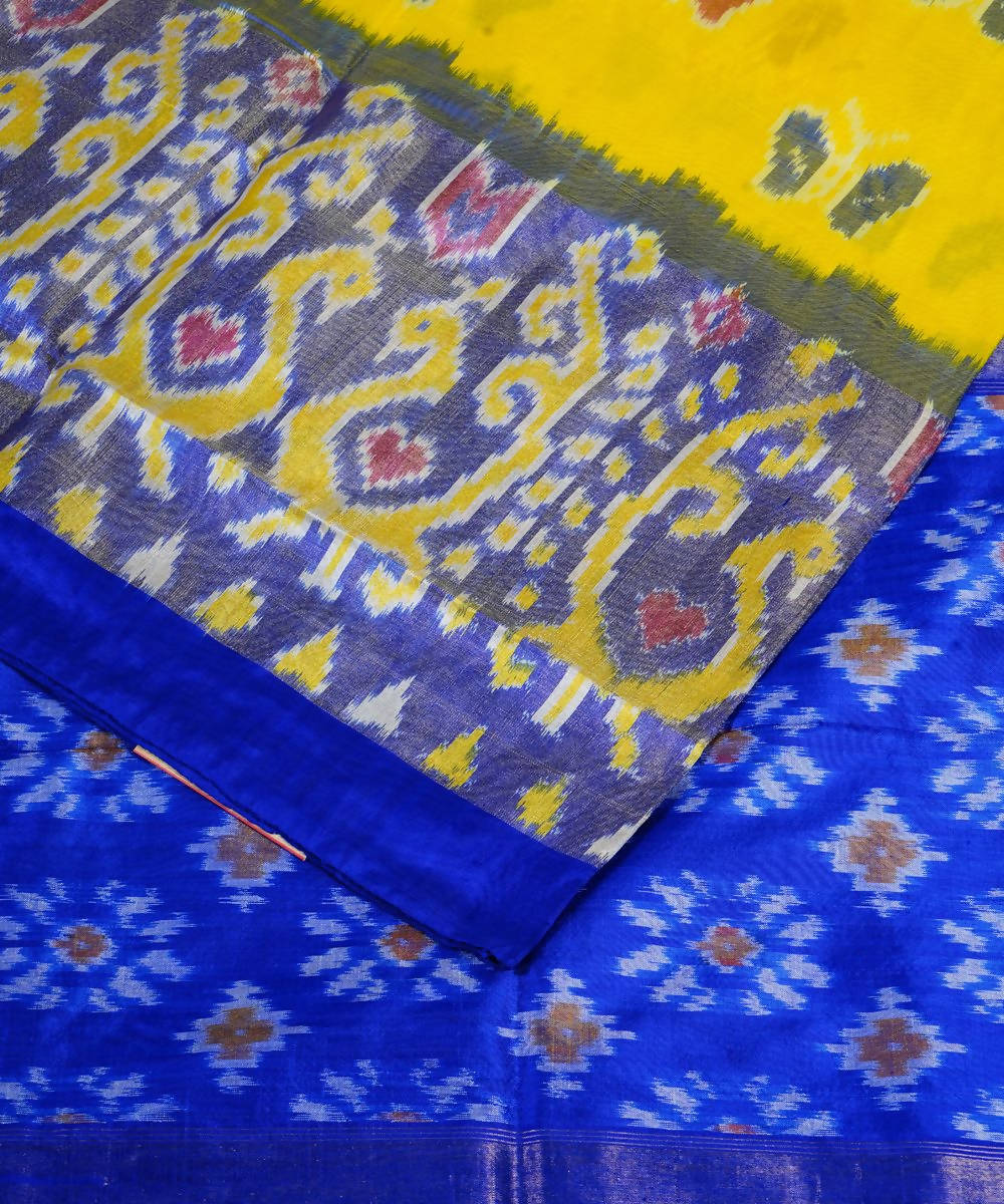 Handloom Dark Yellow Pochampally Silk Saree