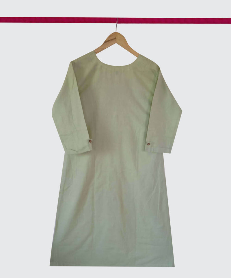 Celery Green Handspun Handwoven Cotton Kurti
