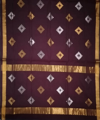 Seal Brown with gold shimmer border Handwoven Venkatagiri cotton Saree