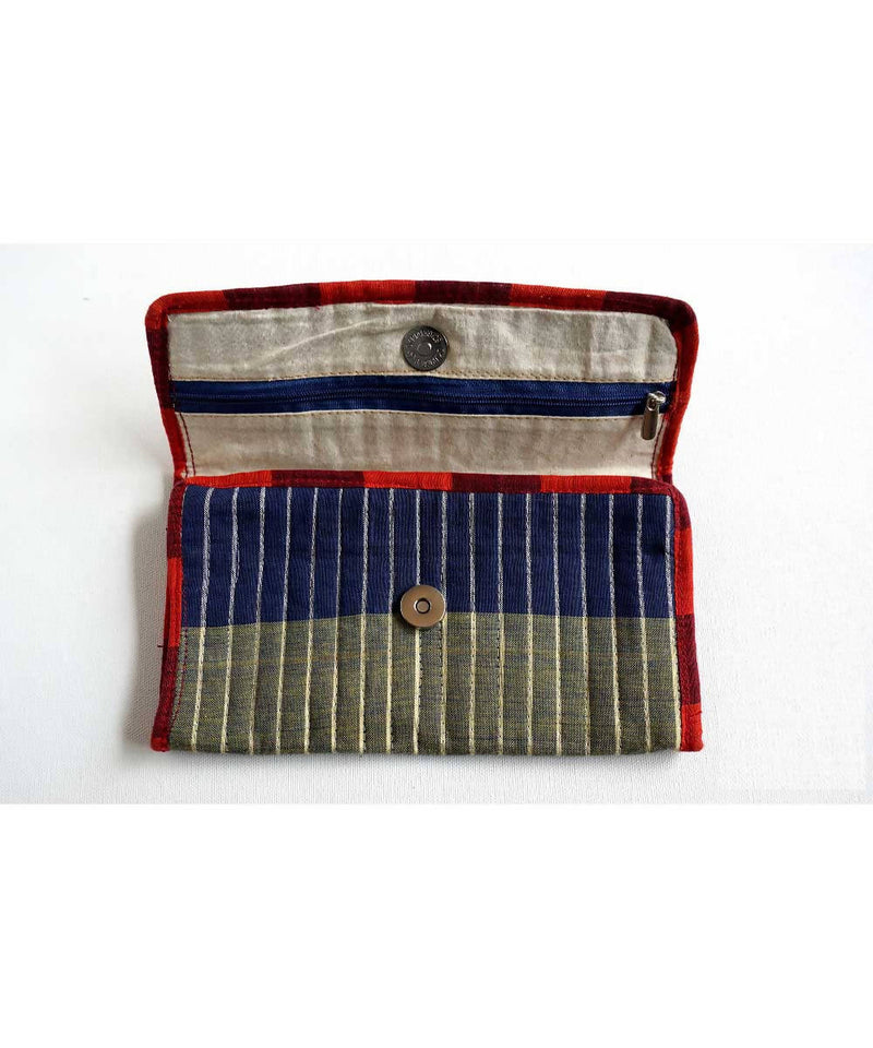 Blue yellow gamcha checks cotton handmade clutch