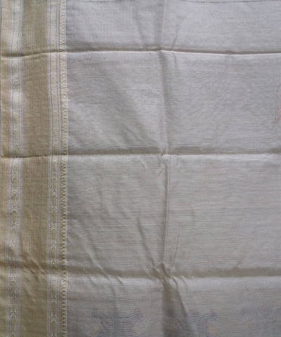 Natural beige handwoven tussar and matka silk bengal saree