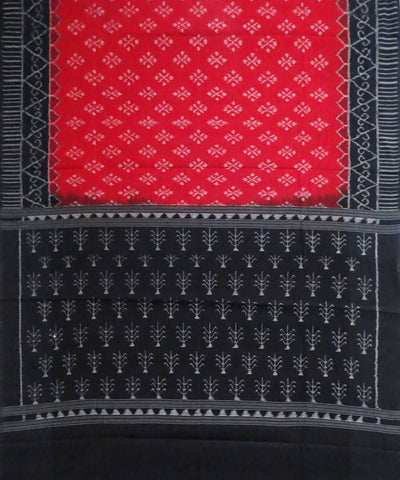 Red Black Sambalpuri Handloom Cotton Dupatta