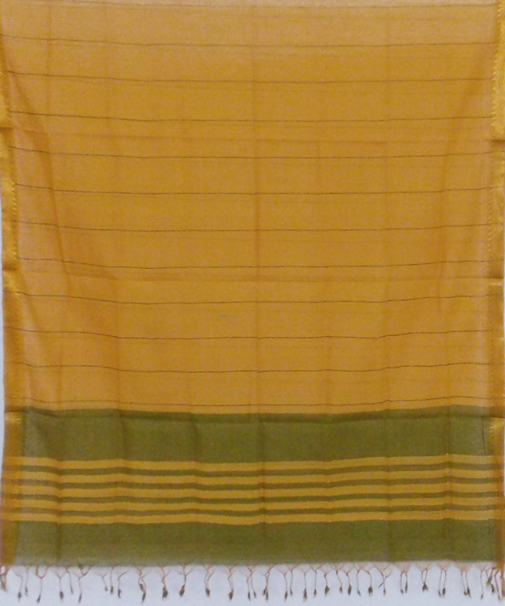 yellow green handwoven cotton dupatta