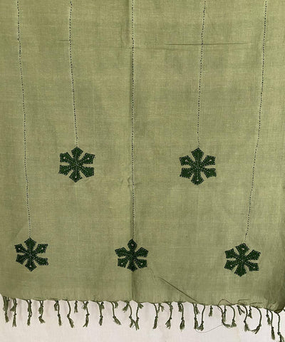 Olive Green hand crafted flowers on cotton stole