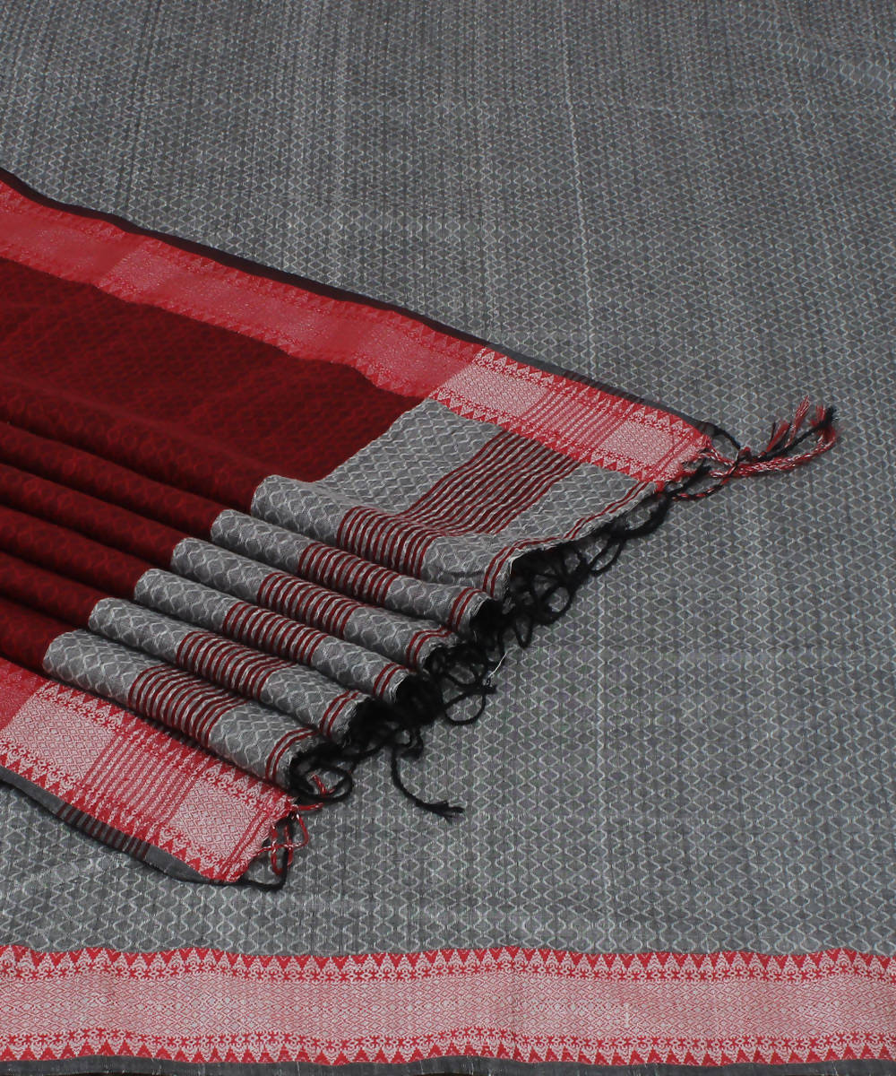 Grey Maroon Bengal Handloom Cotton Saree