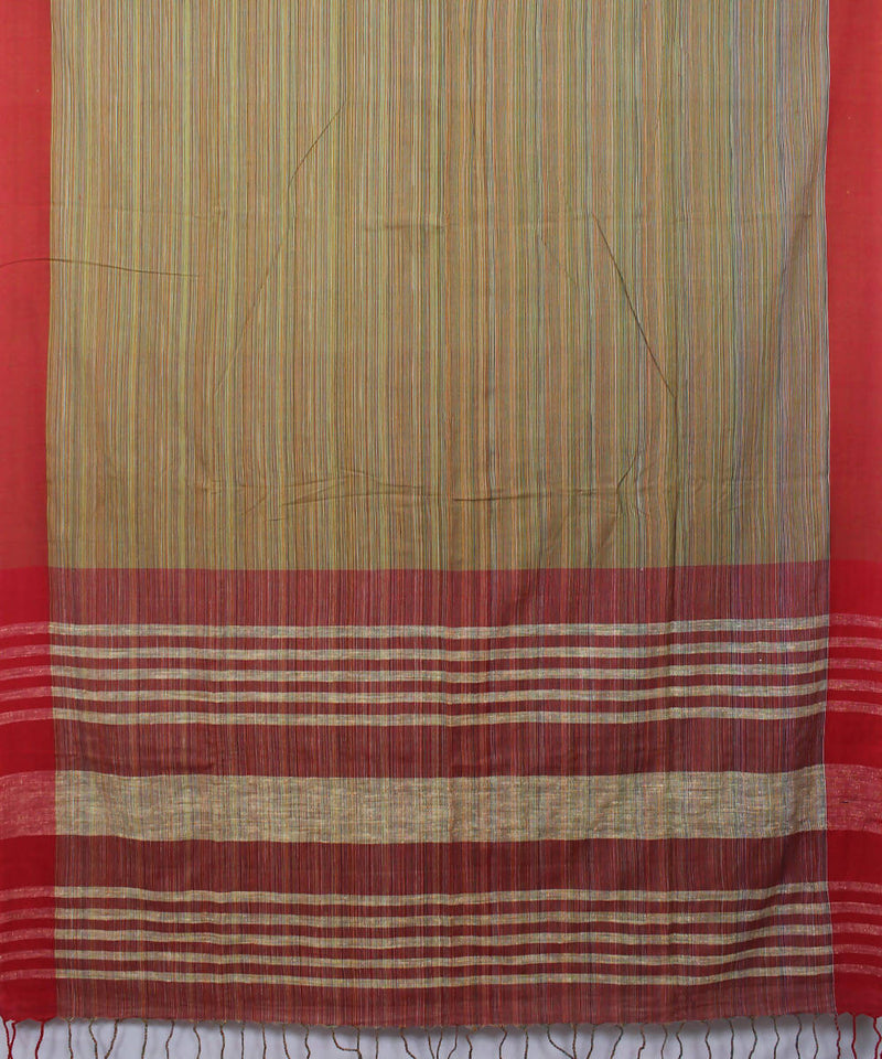 Light Brown Bengal Handwoven Cotton Saree