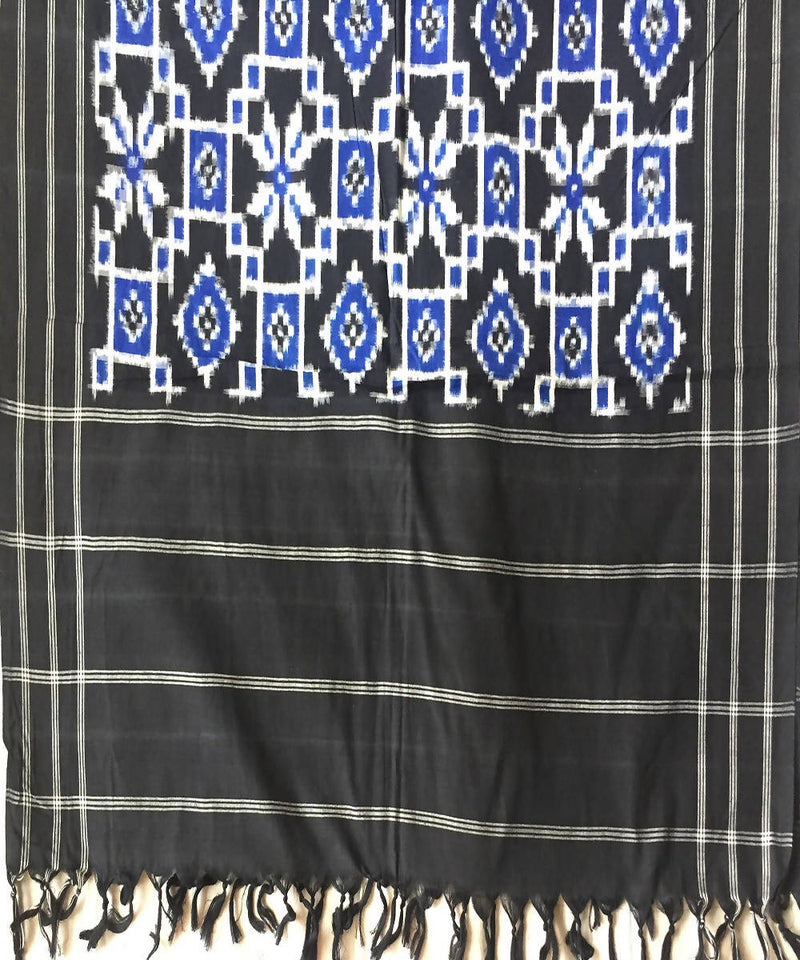 Handloom Blue Black Telia Rumal Ikkat Cotton Dupatta