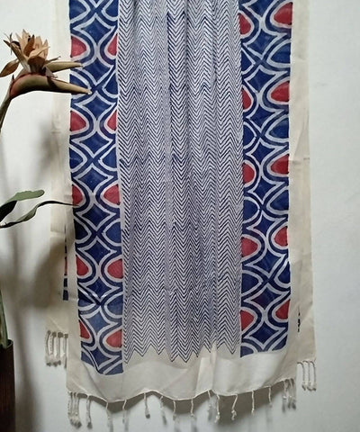 Grey and White Handblock Floral Printed Cotton Silk Stole