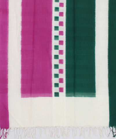Ikat Handwoven Green Pink Cotton Dupatta