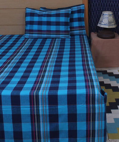 Blue Check Cotton Double Bed Sheet