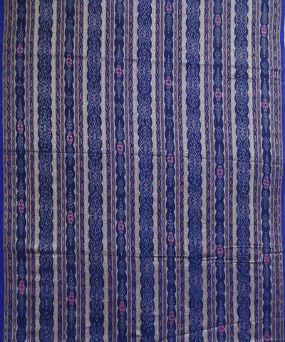 Ink Blue Sambalpuri ikat Handwoven Cotton Fabric Material