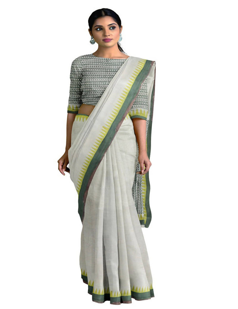 White Pista Handspun Handloom Cotton Saree