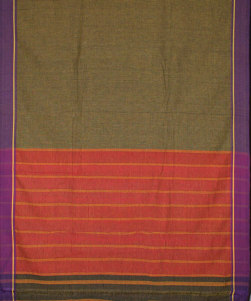 Black yellow checks patteda anchu cotton handloom saree