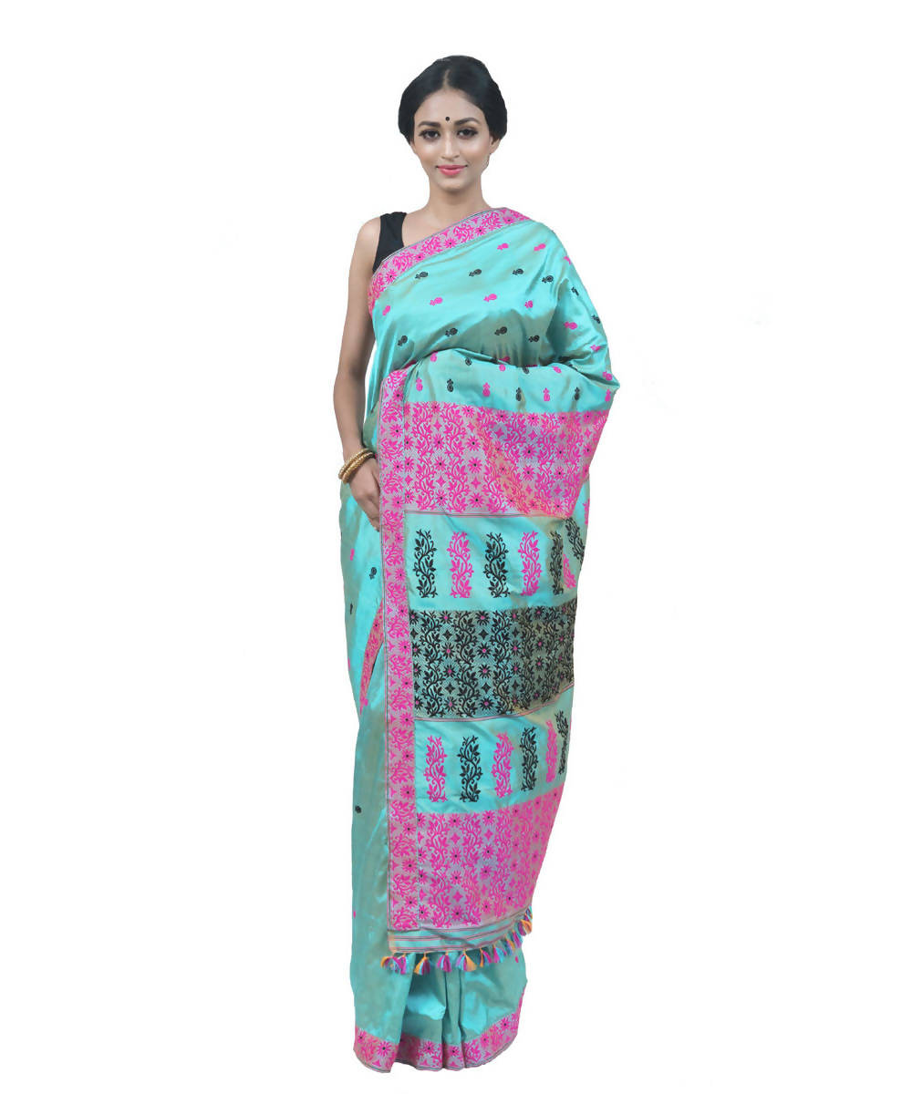 Aqua blue handwoven assam silk saree