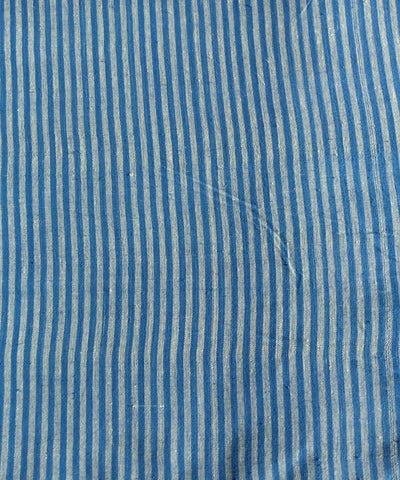 cyan white handspun handwoven stripe cotton kurta fabric