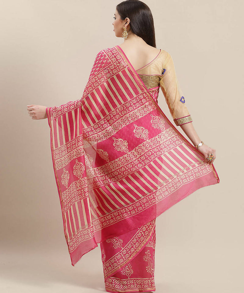 Pink Cream Handblock Printed Chanderi Saree