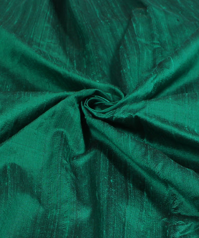 Khadi Dark Green Raw Silk Fabric