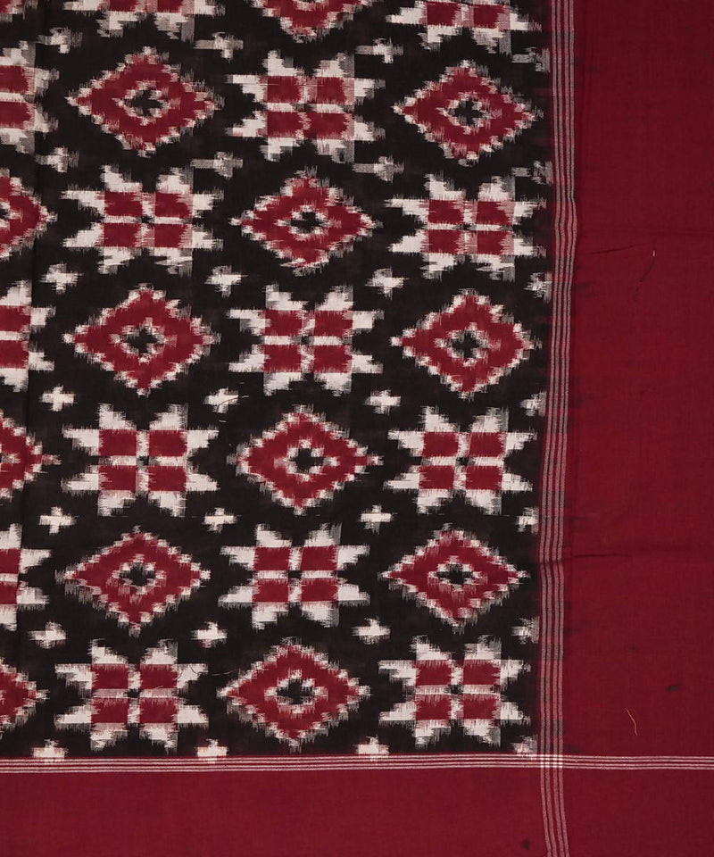 Black and maroon Handwoven Teliya rumal ikat cotton Dupatta