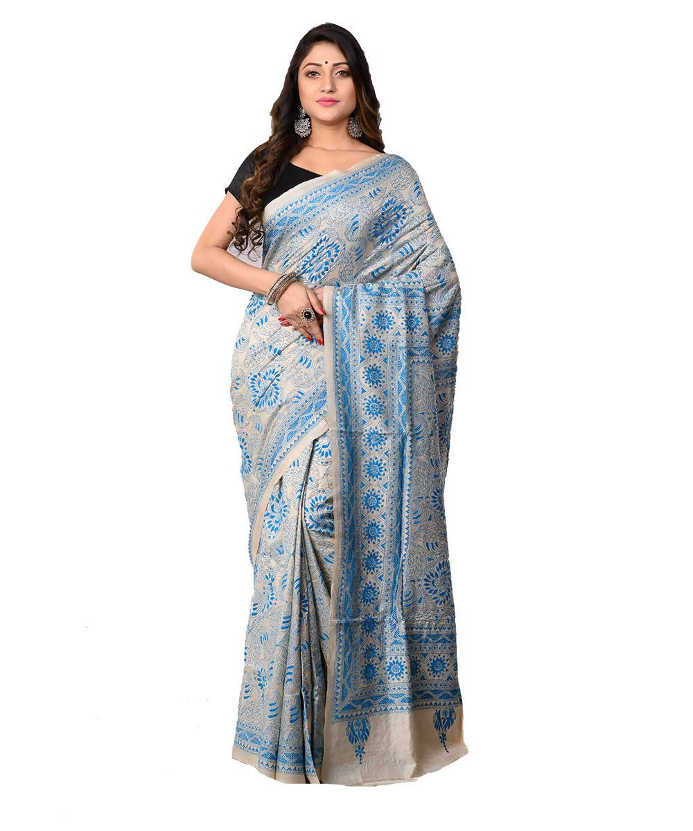 Off White Handcrafted Kantha Stitch Saree