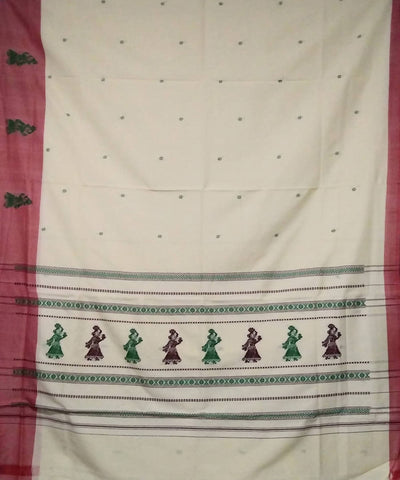 cream handwoven gollabhama cotton saree
