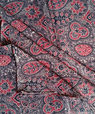 grey red ajrakh block printed handspun handwoven cotton kurta fabric