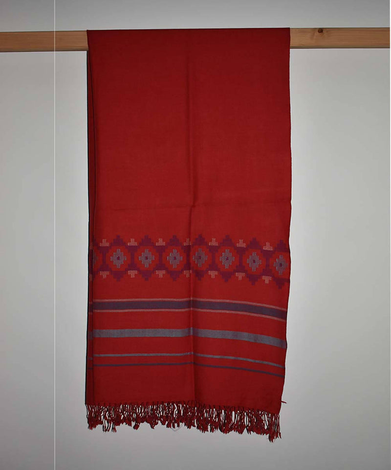 Red handwoven merino woolen shawl