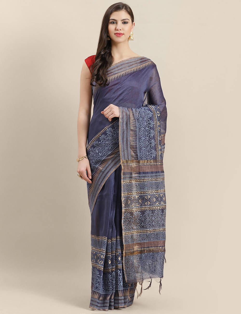 Purple golden handwoven linen printed saree