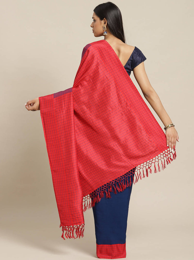 Biswa bangla handwoven red and indigo cutshuttle cotton blend saree