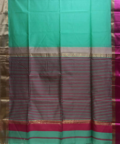Maheshwari Aqua Green Handloom Cotton Silk Saree
