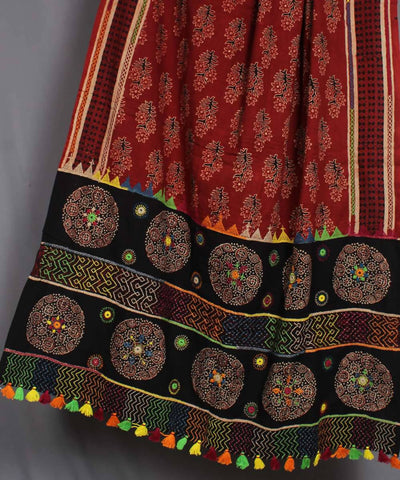 Red Black Hand Embroidery Printed Cotton Dupatta
