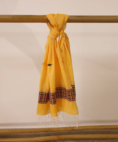 Brown and yellow handloom cotton dupatta