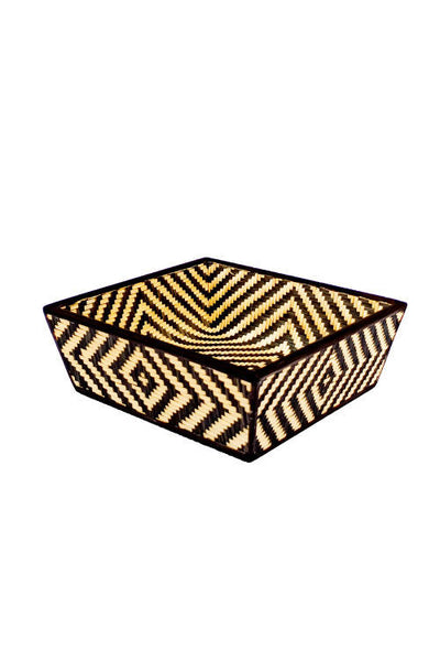 Black Handmade Bamboo Fruit Basket With Lid