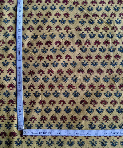 handspun yellow ajrakh handblock print handwoven cotton kurta fabric