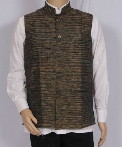 Khadi Nation Handwoven Black and Yellow Khadi Waist Coat