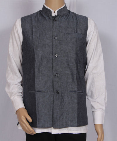 Khadi Nation Handwoven Grey-Black Linen Waist Coat