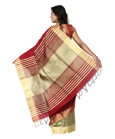 Khadi Nation Maroon and Golden Brown Handwoven Raw Silk Saree