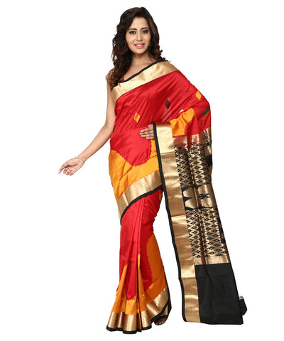 Khadi Nation Red and Turmeric Handwoven Silk Saree