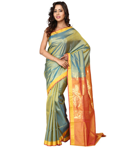 Khadi Nation Double Shaded Pista Green Handwoven Silk Saree