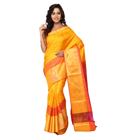 Khadi Nation Yellow and Pink Handwoven  Silk Saree (KHADI-SS-266)