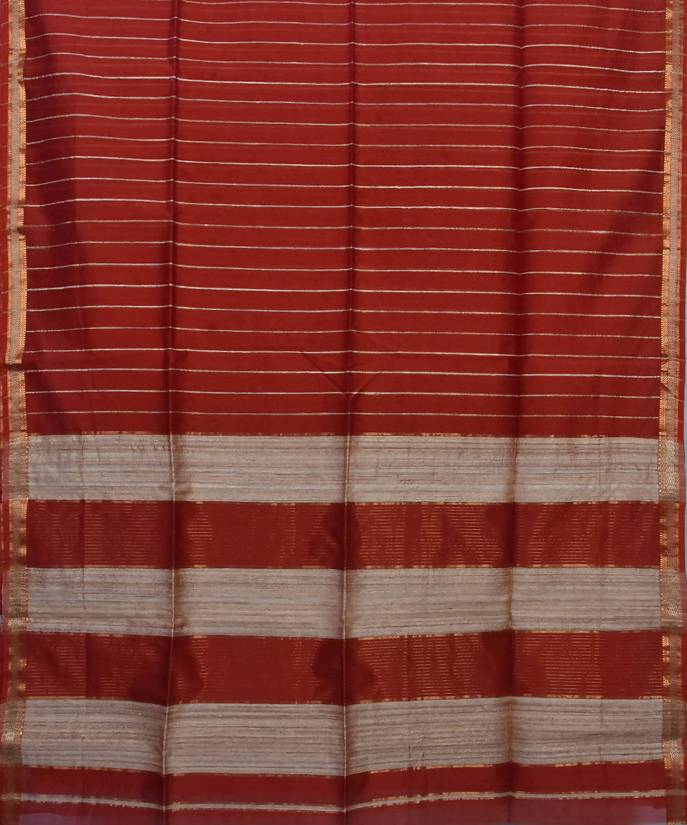 Handloom Maroon Maheshwari Cotton Silk Saree